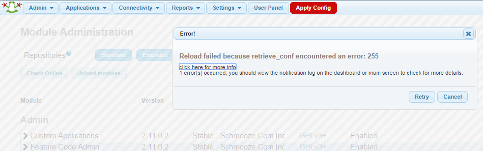 retrieve_conf error: 255