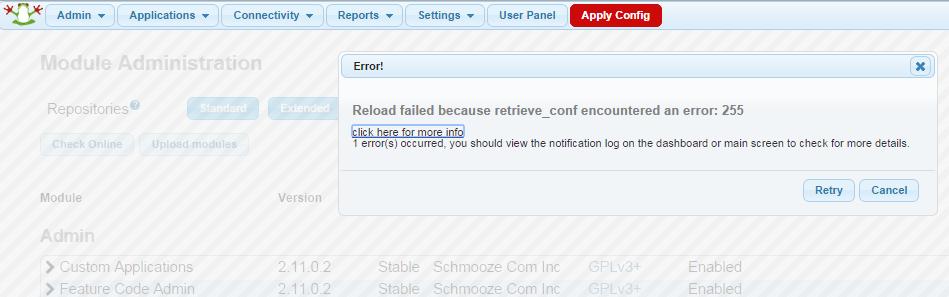Reload failed because retrieve_conf encountered an error: 255
