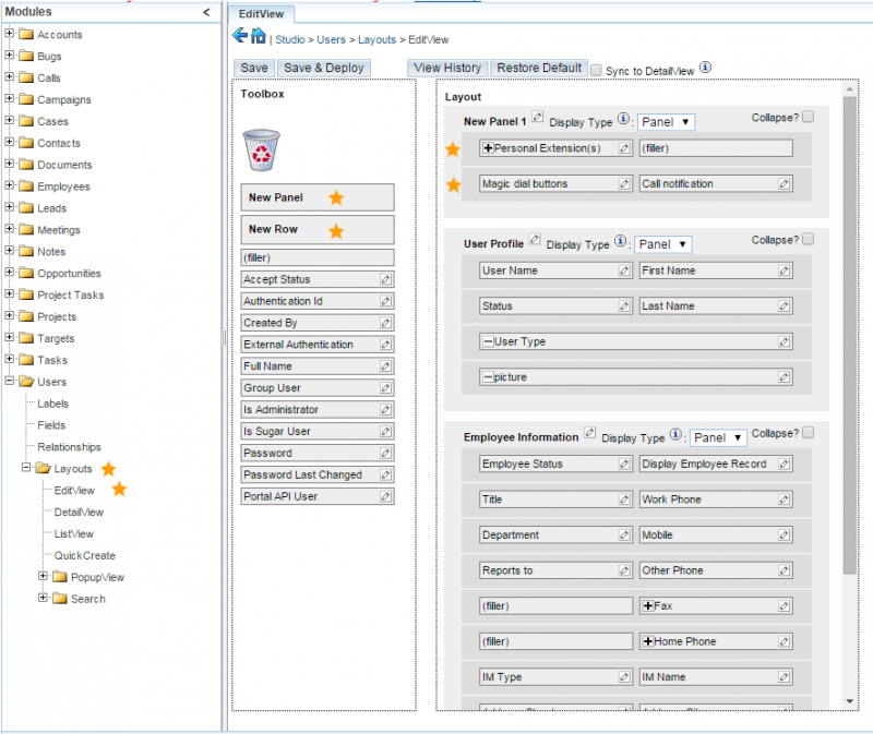 sugarcrm layouts edit view